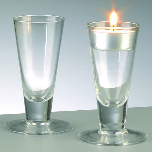 Kreatives4you teelichthalter glas konisch mit fu h for Glas kerzenhalter